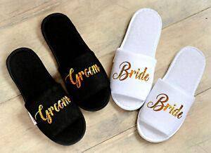 Wedding Slippers Bride Custom Slippers Gold vinyl print Groom slippers Gift