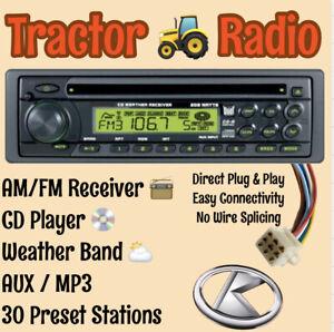 Kubota Tractor RTV B2650 RTX AM FM CD AUX Weather Receiver Direct Plug & Play