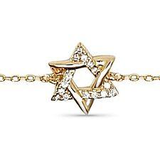 Bracelet Femme étoile de DAVID Plaqué Or et Zirconium - Longueur 16 cm + 3cm