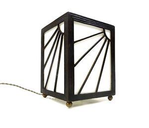 RARE ART DECO WROUGHT IRON SUNBURST TABLE LAMP METAL CAST E. BRANDT ERA