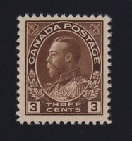 Canada Sc #108ii (1918) 3c dark brown Admiral Wet Printing Mint VF NH