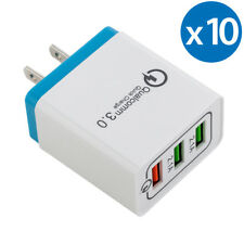 10x 30W 3-Port USB Wall Charger Dual Quick Charge 3.0 Ports For iPhone X Samsung