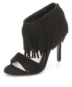 Alice Olivia Gulia Black High Heel OpenToe Suede formal/club/dance Tassels 8.5 M