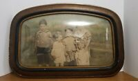 Vintage Antique Wood Picture Frame Domed Bubble Glass Family Children Stamped