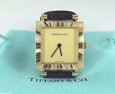 $5,500 Tiffany 24.5mm 18k Yellow Gold Square Atlas Roman Numerals Watch L3630