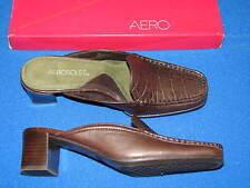 6 B Aerosoles Brown Leather Ladies Shoes Mules Heels Womens Wheel Barrel Croc 6B