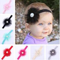 6Pcs/Set Baby Infant Girls Toddler pearl Flower Lace Headband Headwear Hair Band