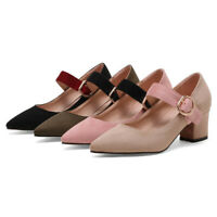 Women Suede Mary Jane Shoes Block Mid Heel Pointed Toe Ankle Strap Dress Pumps