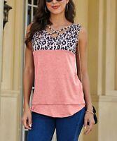 Coeur de Vague Leopard Color-Block Crisscross-Strap Sleeveless Top (Pink, L)