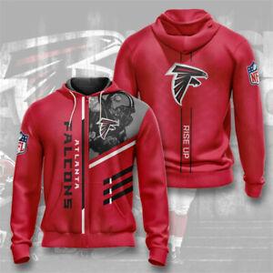 Atlanta Falcons Hoodie Football Zipper Sweatshirt Sports Hooded Jacket Fans Gift