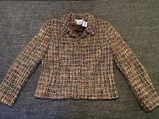 Ladies LK Bennett Wool Tweed Blazer Jacket Size 14 Brown Neutrals