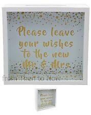 Laisser vos souhaits NOUVEAU Mr & Mrs Mariage Mémoire KEEPSAKE Drop Box Livre Post