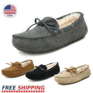 Women's Moccasin Slippers Faux Fur Suede Slippers Moccasin Comfortable Slippers