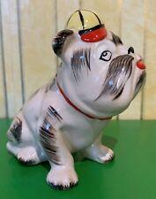 LORNA BAILEY ? DOG  BULLDOG MONEY BANK  YELLOW AND ORANGE CAP