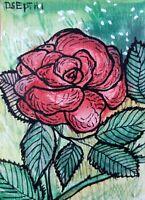 ACEO original miniature painting Ink pen & Watercolor - Rose