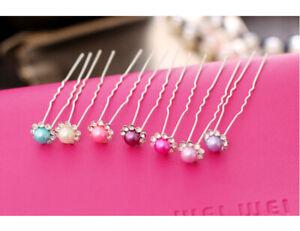 6pcs Women Ladies U-shaped Wedding Flower Synthetic Pearl Hair Clip Pin Hairpin