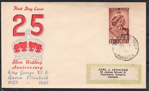 Jamaica. 1948 Silver Wedding First Day Cover with low value.