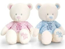 Personalised Teddy Bear New Baby Newborn Girl Boy Pink Blue Shower 1st Gift
