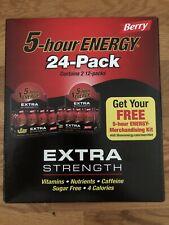 5 Hour Energy Shot Extra Strength Berry Flavor 24 CT 1.93oz Sugar Free 2/$99