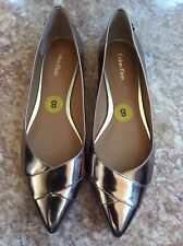 NEW CALVIN KLEIN BRONZE PATENT LEATHER POINTED TOE BALLET FLATS 8M