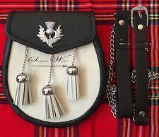Men Full Dress Leather Kilt Sporran White Bovine with Scottish Thistle Cantle