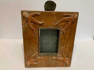 """Incredible vintage folk art frame carved wood figural steel strut """"org prototype"""