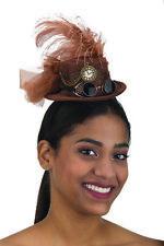 Mini Steampunk Top Hat Headband W/ Mini Detachable Goggles, Brown