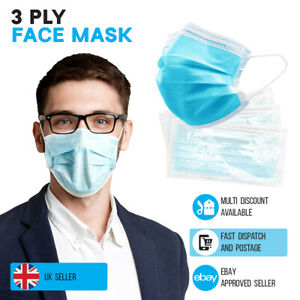 Face Mask 3 Ply Disposable with Ear Loops Mouth Nose Cover Protection Sealed