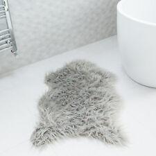 Thick Non Slip Soft Silver Grey Faux Fur Single Sheepskin Style Rugs 60 X 90cm