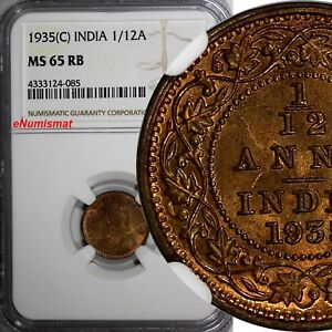 India-British George V Bronze 1935 (C) 1/12 Anna NGC MS65 RB KM# 509