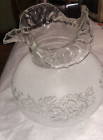 Large Antique Victorian Acid Etched Frosted Banquet Piano Lamp Shade Ruffled