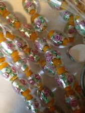 "15"" 12x16mm Yellow/Rose Glass Foil Beads L@@K SALE!!"