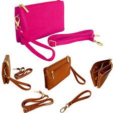 Small Fuschia Pink Clutch Bag Multi Compartment Pocket Cross Body Purse Strap