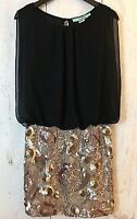 Karlie Size Small Cocktail Party Dress Black Blouson and Rose Gold Sequins