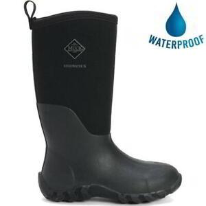 Muck Boots Edgewater II Mens Black Neoprene Wellies Wellington Boots Size 7-11