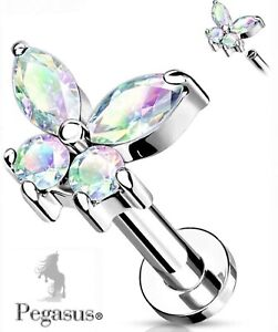 NEW AB Butterfly flat back Cz Cartilage Helix Tragus Bar Barbell Earring Stud .