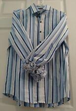 Tasso Elba Men's Sport Shirt - Button Front Flip Cuff 15-151/2 Blue Strips A712b