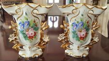 Pair of Stunning Antique Porcelain Vases Hand Painted Flowers Portugal