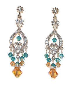 SWAROVSKI Elements CRYSTAL Chandelier Earrings Silver TEAL-LIGHT COLORADO TOPAZ