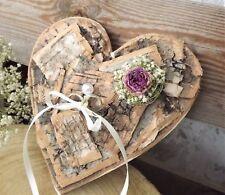 Ringkissen Ringhalter Herz aus Rinde mit Rose für Eheringe Hochzeit