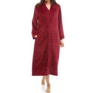 Miss Elaine Womens Size 1X Jacquard Cuddle Fleece Long Zipper Robe Burgundy Red