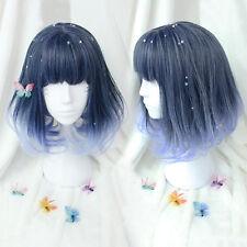 Harajuku Lolita Blue Ombre Full Wig Medium Long Wavy Curly Heat Resistant Hair