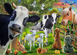 1000 Pcs Funny Farm Animal Cows And Horse Dog Jigsaw Adult Kid Educational Toys