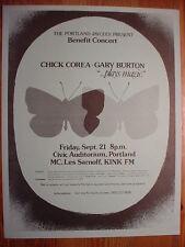 SCARCE CHICK COREA & GARY BURTON 9/21/79 Civic Portland OR HANDBILLS Excellent