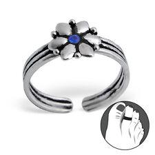 Tjs 925 Sterling Silver Toe Ring Flower Blue Cz Triple Band Adjustable Oxidised