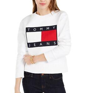 Tommy Hilfiger Jeans Embroidered Flag Logo Crew Neck Jumper For Women