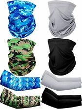 New listing 8 Pack Uv Protection Face Cover Neck Gaiter Scarf and Silk Cooling Arm Sleeves