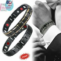 Vogue Men Stainless Steel Magnetic Far Therapy Negative Ion Bracelet Pain Relief