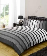 Contemporary Art  Soho Black / Grey Coloured Stripe Double Duvet Set by Rapport