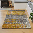 Ochre & Grey Ombre Shaggy Rug Deep 3cm Pile Shag Mat Non Shed Living Room Rugs